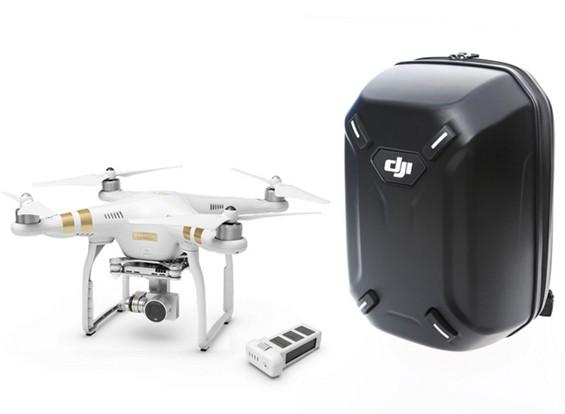 DJI幻影3个专业有额外的电池和硬壳背包