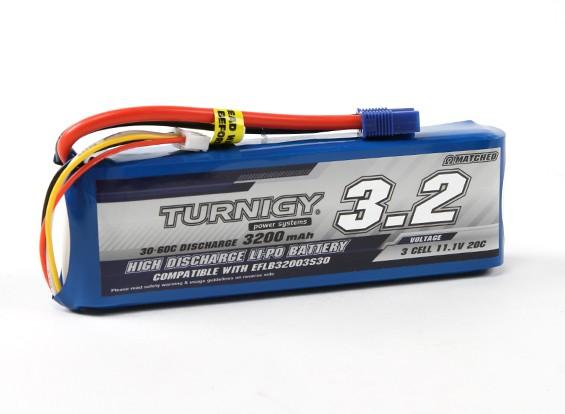 Turnigy 3200mAh 3S 30C LiPoly包瓦特/ EC3(E-FLITE兼容EFLB32003S30)
