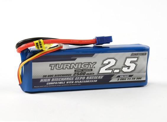 Turnigy 2500mAh的3S 30C LiPoly包瓦特/ EC3(E-FLITE兼容EFLB25003S30)