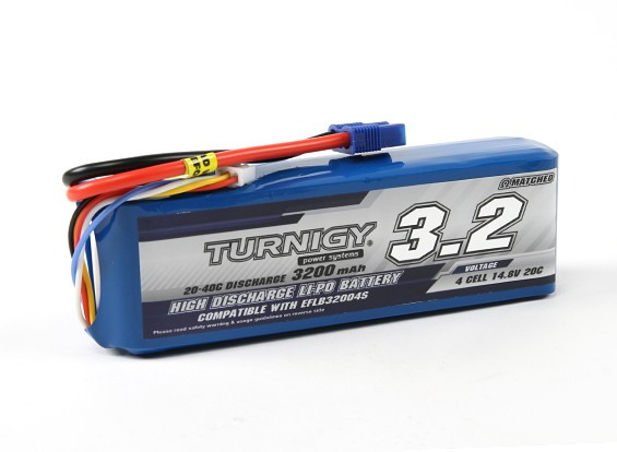 Turnigy 3200mAh 4S 20C LiPoly包瓦特/ EC3(E-FLITE兼容EFLB32004S)