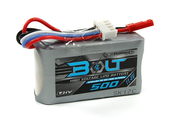 Turnigy博尔特500mAh的3S 11.4V 65〜130℃的高压Lipoly包(LiHV)