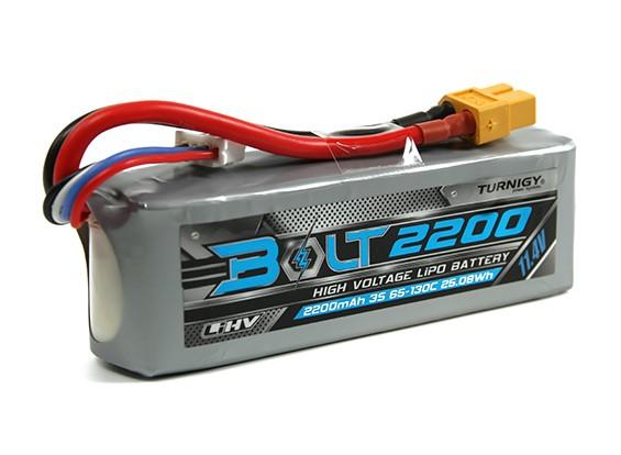 Turnigy博尔特2200mAh的3S 11.4V 65〜130℃的高压Lipoly包(LiHV)