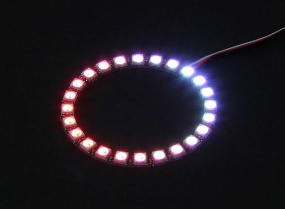 24 RGB LED 7彩色圆形板5V和智能RGB LED控制器,双叶式插头
