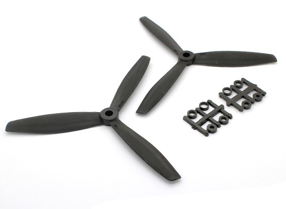 GemFan 6040 GRP 3叶螺旋桨顺时针/逆时针设置黑(1对)