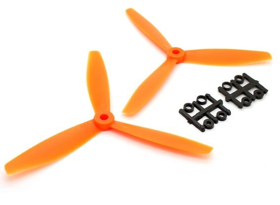 GemFan 6040塑料3叶螺旋桨顺时针/逆时针设置橙色(1对)