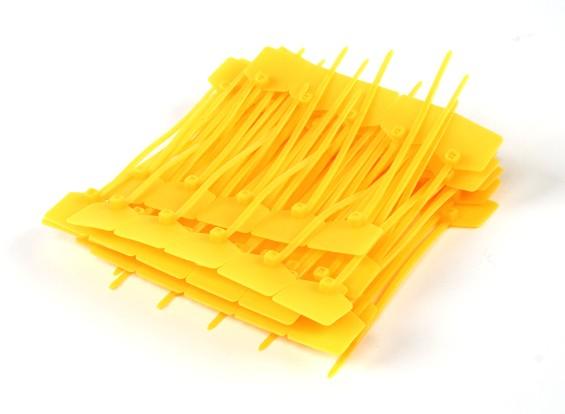 扎带120毫米x 3毫米黄带标记标签(100个)