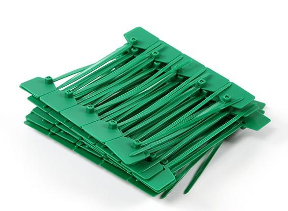 扎带120毫米x 3mm的绿色带标记标签(100个)