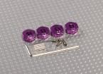 紫色铝合金轮毂适配器与锁螺钉 - 5毫米(12毫米十六进制)