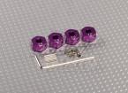 紫色铝合金轮毂适配器与锁螺钉 -  7毫米(12毫米十六进制)