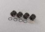 钛铝合金色轮1/8与适配器塞车轮螺母(17毫米六角 -  4件套)