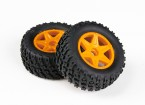 H-王沙尘暴1/12两轮驱动沙漠越野车 - 完整的前轮胎套装(2个)