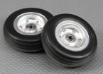 规模喷气/ Warbird铝合金轮毂70毫米W /槽橡胶轮胎/ Ballraced(2PC)