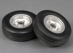 规模喷气/ Warbird铝合金轮毂90毫米W /槽橡胶轮胎/ Ballraced(2PC)