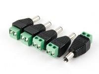 2.5毫米直流电源插头,螺丝端子(5片装)