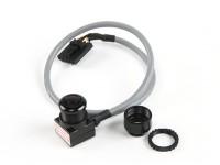 屏蔽电缆(NTSC)Aomway迷你600TVL FPV调谐CMOS摄像头,麦克风和