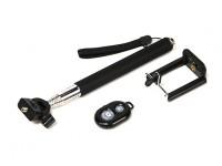 单极凸轮行动分机(自拍杆)与蓝牙远程快门控制 - 黑色