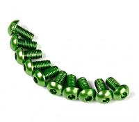 7075铝。 M3圆头螺丝6毫米绿色