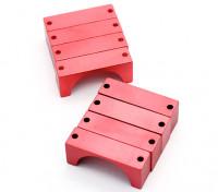 红色阳极化数控半圆合金管夹(incl.screws)25毫米