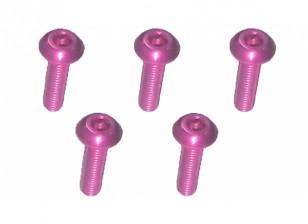 Screw Button Head Hex M3x10mm Machine Thread 7075 Aluminum Pink (5pcs)
