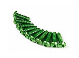 7075铝。 M3圆头螺丝10毫米绿色