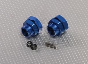 蓝色铝合金轮毂适配器23毫米十六进制(2PC)