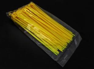 电气邮编/扎带尼龙的4mm x150毫米 -  100 /袋(黄色)