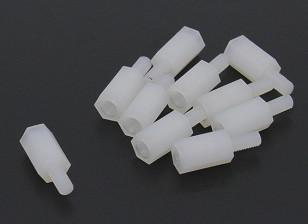 5.6毫米x 16毫米M3尼龙螺纹垫片(10PC)