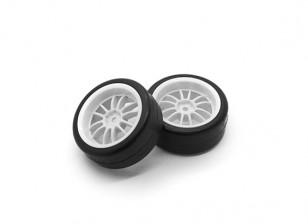 HobbyKing 1/10车轮/轮胎一套Y型轮辐(白色)后置遥控车26毫米(2个)