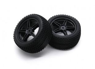 HobbyKing 1/10壁虎下目5辐式后(黑色)车轮/轮胎12毫米六角(2件/袋)