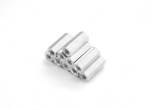 轻质铝合金六角垫片部分的M3 x13毫米(10件/套)