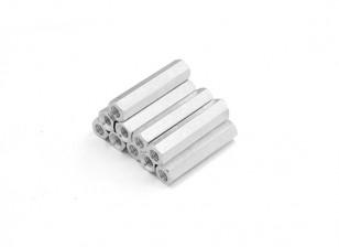 轻质铝合金六角垫片部分的M3 x22毫米(10件/套)
