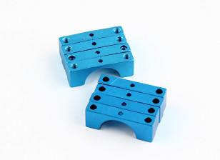 蓝色阳极氧化双面CNC铝合金管夹直径14mm