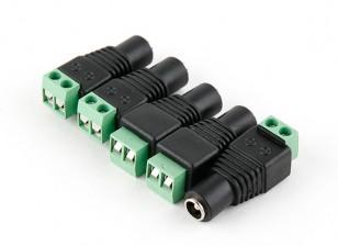 2.1毫米DC电源插座,带螺旋式接线端子(5片装)