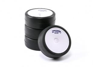 乘车前胶合1/10房车轮胎 - 革命高抓地轮胎束带Re25 W / LT插入(4只)