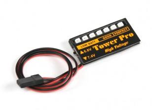 LED接收电压电池检查6.6〜7.4V LiPoly /生活