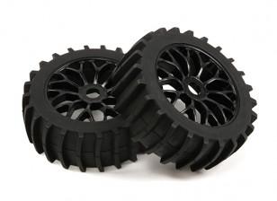 1/8比例黑色多辐轮毂桨式轮胎(2PC)