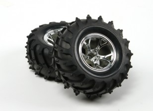 HobbyKing®™1/10履带和怪物卡车125毫米车轮和轮胎(银RIM)(2个)