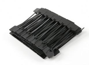 扎带120毫米x 3mm的黑色带标记标签(100个)