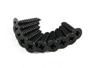 Screw Flat Head Phillips M2.6x12mm Self Tapping Steel Black (10pcs)