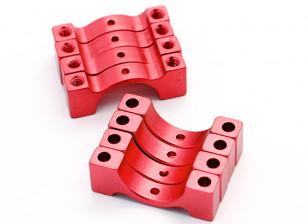 红色阳极化数控半圆合金管夹(incl.screws)14毫米