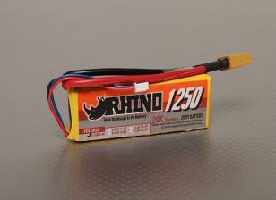 犀牛1250mAh的2S 7.4V 20C Lipoly包