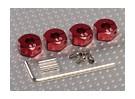 红色铝合金轮毂适配器与锁螺钉 - 6毫米(12毫米十六进制)