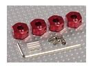 红色铝合金轮毂适配器与锁螺钉 -  7毫米(12毫米十六进制)
