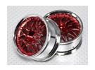 1:10比例轮组(2个)红色/镀铬拆分10辐式遥控车26毫米(无偏移)