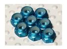 蓝色阳极氧化铝M3 NYLOCK螺母(8件)