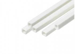 ABS Square Tube 2.0mm x 2.0mm x 500mm White (Qty 5)