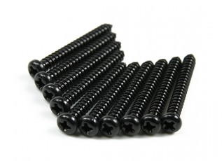 Screw Round Head Phillips M2.6x22mm Self Tapping Steel Black (10pcs)