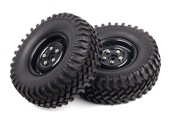 1/10 Scale Rock Crawler Wheels With Soft Compound Off-road Tyres (Black Rims) (2pc)