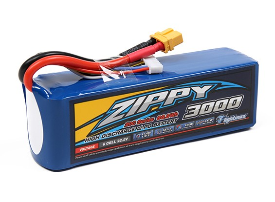Zippy Flightmax 3000mAh 6S 20C Lipo Pack w/XT60U Connector