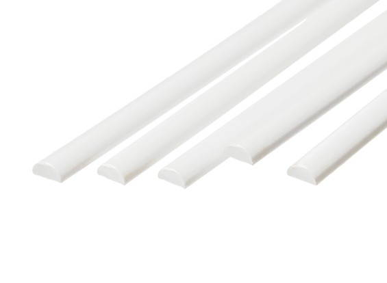 ABS Half Round Rod 6.0mm x 500mm White (Qty 5)